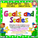 Goals and Scales for Kindergarten {Math, EDITABLE, Picture Scales}