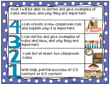Goals and Scales for Kindergarten {Social Studies, Kid Friendly, Picture Scales}