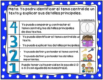 Goals and Scales for First Grade in SPANISH {ELA, Kid Friendly, Picture Scales}