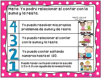 Goals and Scales for First Grade in SPANISH {Math, Kid Friendly, Picture Scales}