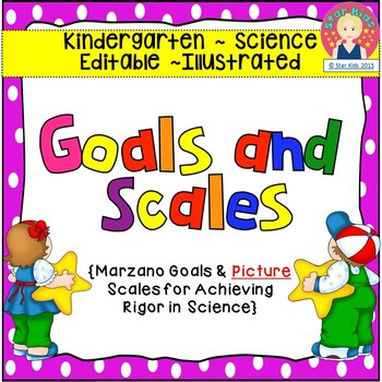 Goals and Scales for Kindergarten {Science, EDITABLE, Pict