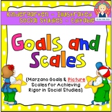 Goals and Scales for Kindergarten {Social Studies, EDITABLE, Picture Scales}
