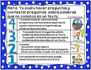 Goals and Scales in SPANISH for Kindergarten {ELA, Kid Friendly, Picture Scales}