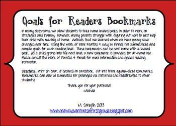 Goals for Readers Bookmark to Support At-Home Reading Levels G-K