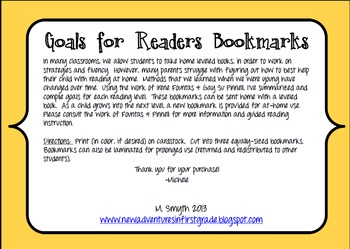 Goals for Readers Bookmark to Support At-Home Reading Levels L-P