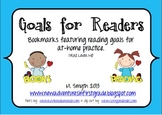 Goals for Readers Bookmarks to Support At-Home Reading DRA2 Levels 1-10