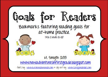 Goals for Readers Bookmarks to Support At-Home Reading DRA2 Levels 12-20