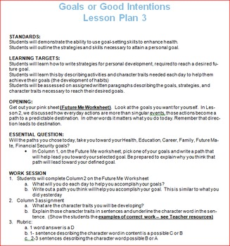 Goals or Good Intentions Lesson Plan 3 with Worksheets