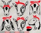 Goat Head whit Bandana Silhouette SVG clipart feet goats Farm Milk 798S