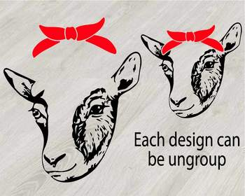 Goat Head whit Bandana Silhouette outline SVG clipart feet goats Farm Milk 788S