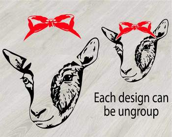 Goat Head whit Bandana Silhouette outline SVG clipart feet goats Farm Milk 789S