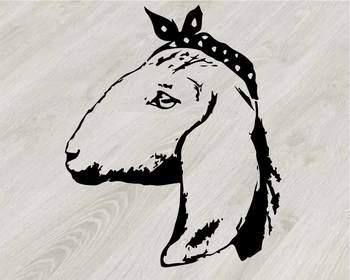 Goat Head whit Bandana Silhouette outline SVG clipart feet goats Farm Milk 791S