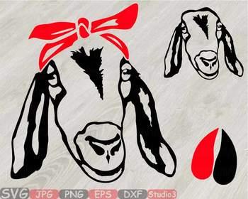 Goat Head whit Bandana Silhouette outline SVG clipart feet goats Farm Milk 793S