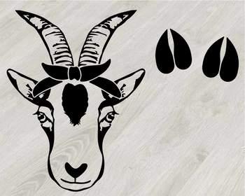 Goat Head whit Bandana Silhouette outline SVG clipart feet goats Farm Milk 794S
