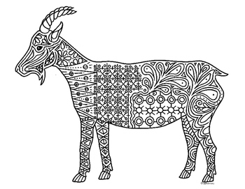 Goat Zentangle Coloring Page