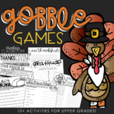 Gobble Games - Thanksgiving Activities | For Upper Grades