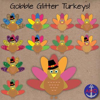 Gobble Glitter Turkey Clip Art
