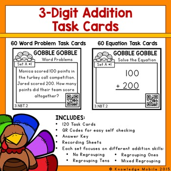 Gobble Gobble: Three Digit Addition Task Cards-Printables-Constructed Response