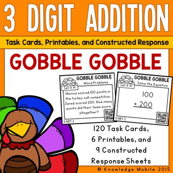 Gobble Gobble: Three Digit Addition Task Cards-Printables-