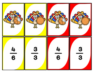 Fractions Card Game Thanksgiving Theme