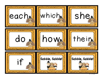 Gobble, Gobble!  A Fry Sight Word Game