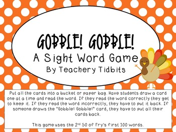 Gobble! Gobble! A Sight Word Game