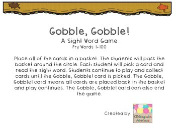 Gobble, Gobble! A Sight Word Game