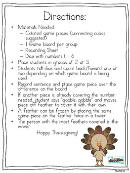 Gobble, Gobble - A Thanksgiving Addition or Subtraction Game