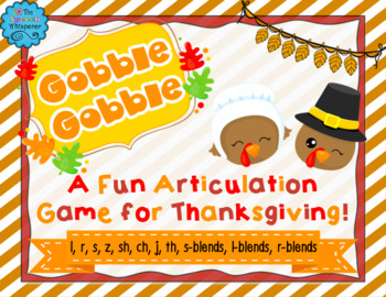 Gobble Gobble! A Thanksgiving Articulation Activity