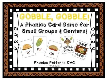 Gobble Gobble: A Thanksgiving Themed CVC Phonics Card Game