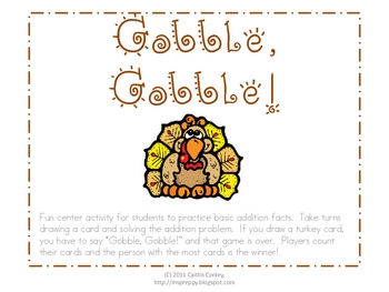 Gobble, Gobble!  Addition Facts
