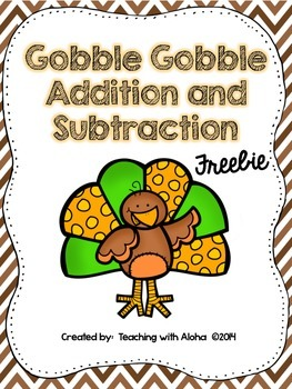 Gobble Gobble Double Digit Addition and Subtraction Without Regrouping FREEBIE