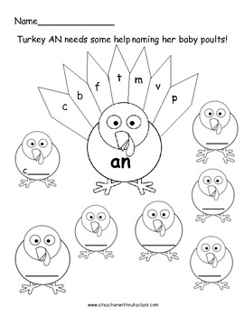 Gobble, Gobble.  At and An turkeys need help making words!