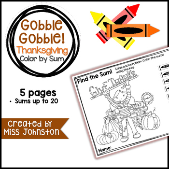 Gobble Gobble Color by Sum (Sums up to 20)