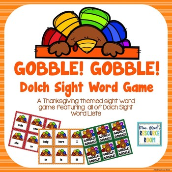 Gobble! Gobble! Thanksgiving Dolch Sight Words Game
