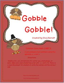 Gobble Gobble First Grade Math