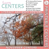 November Centers: Second Grade Math and ELA