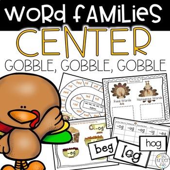 Gobble, Gobble, Gobble: November CVC Word Family Centers a