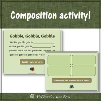 Gobble, Gobble, Gobble: Orff, Rhythm, Form, Movement and Creativity (sixteenth)