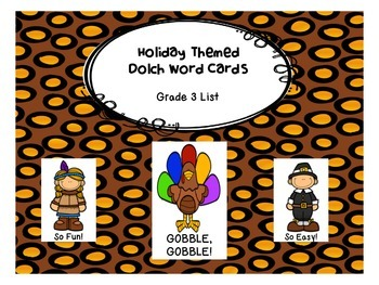 Gobble, Gobble! Grade 3 Dolch Word Game