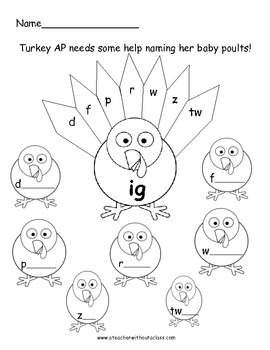 Gobble, Gobble.  IG and IP Word Families