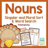 Singular and Plural Noun Sort: Thanksgiving