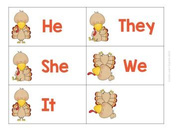 Pronoun Sort Thanksgiving Theme