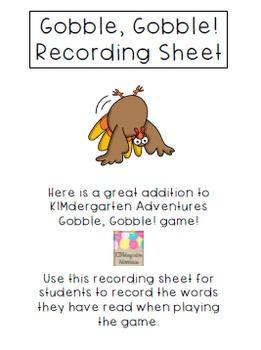 Gobble, Gobble! Recording Sheet