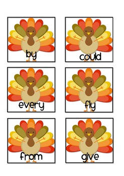 Gobble Gobble--Sight Word Game {1st & 2nd grade Dolch Words}