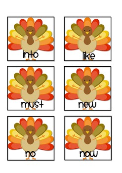 Gobble Gobble--Sight Word Game {Primer Dolch Words}