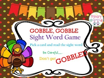 Gobble, Gobble Sight Word Game with a Thanksgiving Theme