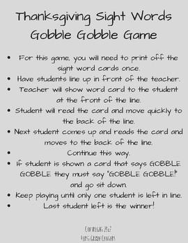 Gobble Gobble Sight Word Games