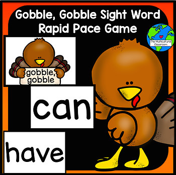 Gobble, Gobble Sight Word Thanksgiving Game, Reading Street K words
