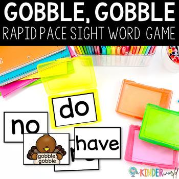 Gobble, Gobble Kindergarten Sight Word Rapid Naming Game